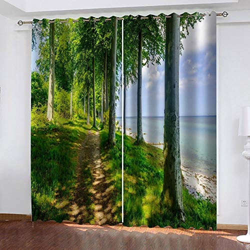"Grommet Thermal Insulated Room Darkening Curtains Blackout Curtains for Bedroom Insulated Heavy Weight Textured Rich 2 Panels 140"" W x 160"" Hcm Tree Beach"