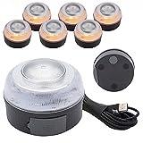 AUTO LABEL Luz Emergencia V16 Recargable Homologada DGT, Base Magnética, Señal V16, Set de 6 Luces