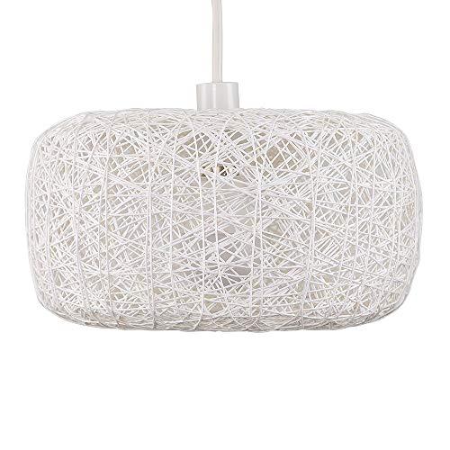 Modern White Lattice Wicker Rattan Doughnut Design Ceiling Pendant Light Shade