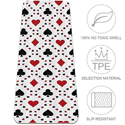 Eslifey Poker Cards - Esterilla de yoga cuadrada, 6 mm de grosor, ligera, sin olor, para pilates, 183 x 61 cm