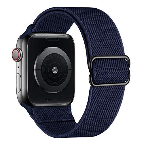 amBand Sport Solo Loop Band Compatible con la correa Apple Watch 38mm 40mm 42mm 44mm, elástico ajustable trenzado suave Correa de reemplazo de nylon compatible con la serie iWatch 6/5/4/3/2/1 SE