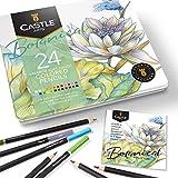 Castle Arts 24 lápices de colores en un estuche de metal, colores Botanical perfectos para dibujar, esbozar, colorear. Con núcleos blandos, mezcla superior y juego de capas