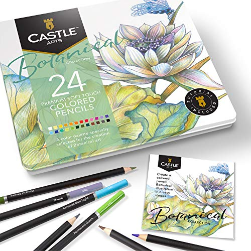 Castle Arts Themed 24 Colored Pencil Set in Tin Box perfect colors for 'Botanical' Art Featuring smooth colored cores superior blending amp layering performance for great results