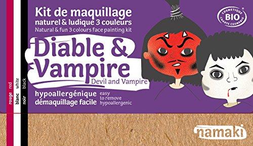 Namaki - Maquillage enfants Kit 3 Couleurs Diable & Vampire Bio - Rouge, Blanc, Noir