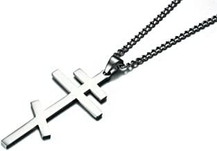 XUANPAI Mens Stainless Steel Cross Pendant Necklace Russian Orthodox Cross Religious Jewelry,Curb Chain 24