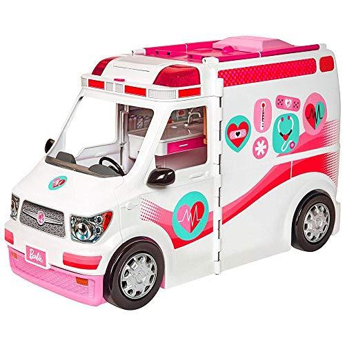 Barbie Véhicule Médical rose et blanc pour poupée, voiture a