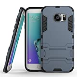 4 Season Hybrid Armor Back Cover Case with Kickstand Cover for SAMSUNG GALAXY S6 EDGE -(BLUE)