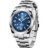 BENYAR Automatic Men's Watches Luxury Stainless Steel Wrist Watch for Men Waterproof Luminous Self-Winding Analog Business Wristwatch (Silver Blue 5177L)