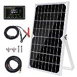 Topsolar 10 W 12 V panel solar, kit de mantenimiento de batería, regulador de carga solar impermeable de 10 A, soporte ajustable para bastidor basculante, cable solar para