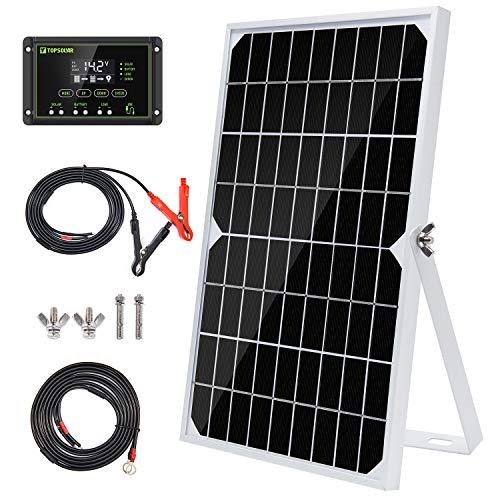 Topsolar Kit de maintenance de batterie pour panneau solaire 10 W 12 V + régulateur de charge solaire étanche 10 A + support réglable pour bras basculant + câble solaire pour