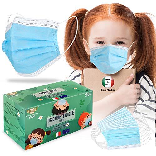 KARAEASY Bambini Tipo 1 Medico Made Italy Tessuto non Tessuto purificazione aria spessore 3 livelli da 50 PEZZI