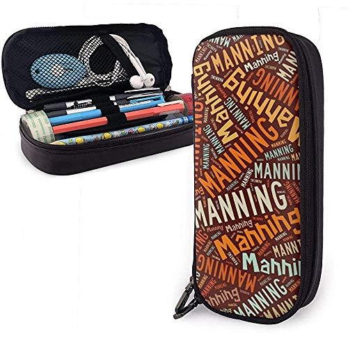 Manning - Apellido americano Estuche de cuero de alta capacidad Estuche de lápices Estuche de lápices Organizador de libros Estuche de maquillaje escolar Estuche para estudiantes