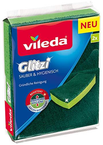 Vileda Glitzi Sauber & Hygienisch Reinigungsschwamm, antibakterielle Wirkung, 2er Pack