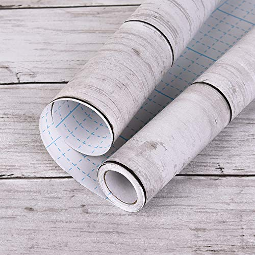 White Grey Wood Self-Adhesive Wallpaper 17.71 in × 32.8 Ft Wood Grain Contact Paper Peel and Stick Wood Paper Panel Interior Film Easy to Remove Without Trace