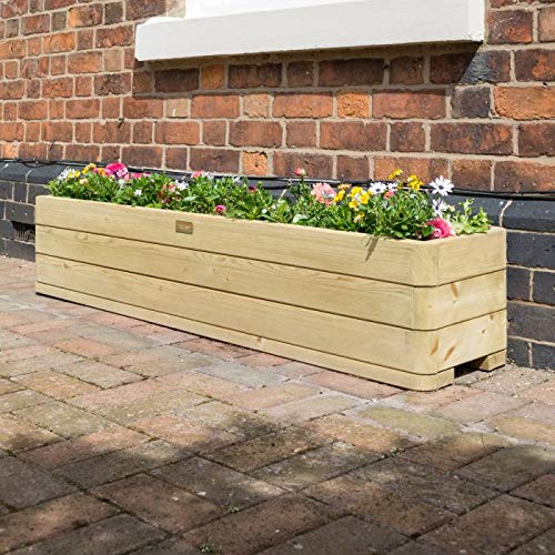 Rowlinson Marberry Contemporary Patio Garden Planter With Liner - Self Assembly