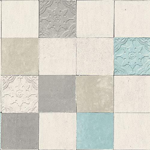 Vliesbehang Tegeltjes behang Tegel behang Blauw Grijs Wit 374061 37406-1 A.S. Création New Walls | Blauw/Grijs/Wit | Rol (10,05 x 0,53 m) = 5,33 m²