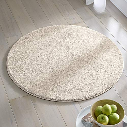 Teppich Wölkchen Kurzflor Teppich I Flauschige Flachflor Teppiche fürs Wohnzimmer, Esszimmer, Schlafzimmer oder Kinderzimmer I Einfarbig I Creme - 120 rund