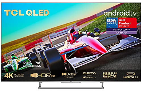 TCL 55C727 4K QLED Gaming Fernseher 55 Zoll Smart TV (Quantom Dot, 100{020db3577c720e8c60b5af6d8d1a0d6e5634c19d548ce59053ef349992abd817} Farbvolumen, 100Hz MEMC, Android 11, HDMI 2.1, Game Master Pro, Dolby Vision IQ & Atmos, ONKYO, Google Duo, Alexa) [2021]