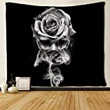 SARA NELL Wall Hanging Tapestry Fire Skull Rose Black and White Tapestries Wall Tapestry Home Decorations for Living Room Bedroom Dorm Decor in 60x80 Inches