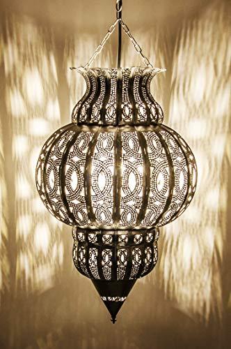 Orientalische Lampe Pendelleuchte Silber Isfahan 50cm E27 Lampenfassung | Marokkanische Design Hängeleuchte Leuchte aus Marokko | Orient Lampen für Wohnzimmer, Küche oder Hängend über den Esstisch