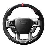 ZIMAwd Cubierta de Volante de Gamuza de Cuero Negro para Coche, Apto para Ford F-150 F150 King Ranch Lariat Platinum XL XLT 2015 2016 2017聽