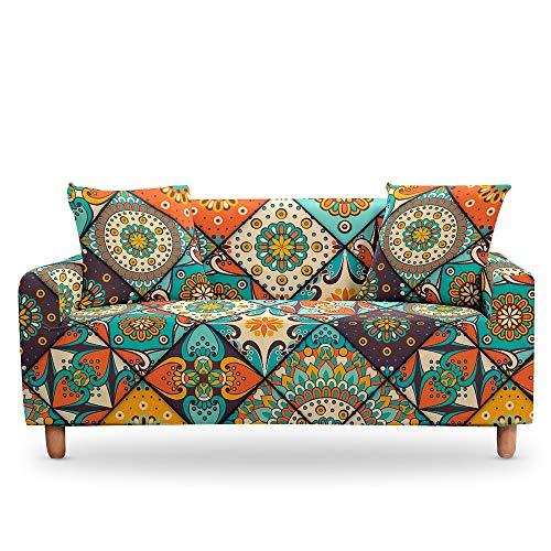 ASCV Funda de sofá elástica para Sala de Estar 3D Mandala de Flores étnicas Cojines Bohemios Fundas de Muebles de sillón universales A4 3 plazas