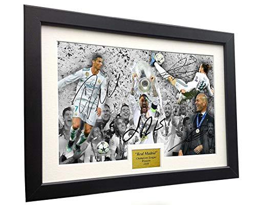 """Marco de fotos con foto autografiado del Real Madrid """"2018 Champions League, firmado por Cristiano Ronaldo Gareth Bale Sergio Ramos Zinedine Zidane - Marco de fotos de fútbol"""