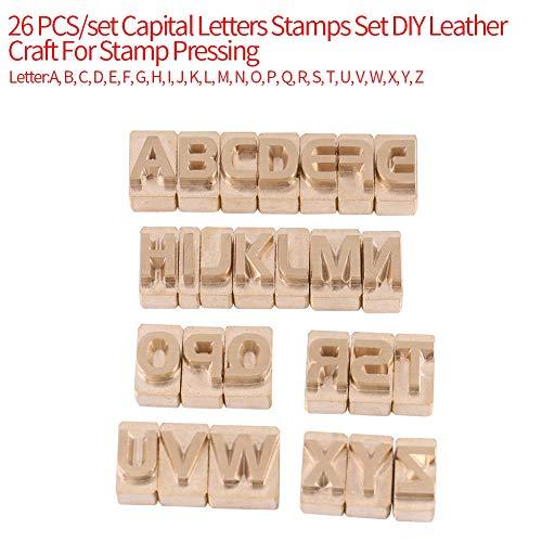 26-delige set hoofdletters postzegels set, DIY lederen handwerk voor stempel drukken leerlingen leerhandwerk stansgereedschap