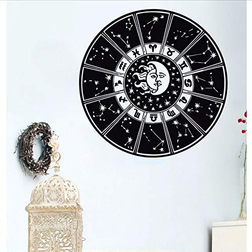 Jasonding Art Design Lune Et Soleil Double Zodiac Murale Home Decor De Chambre À Coucher En Vinyle Star Nuits Symbole Soleil Applique Murale Stickers 57 * 57 Cm