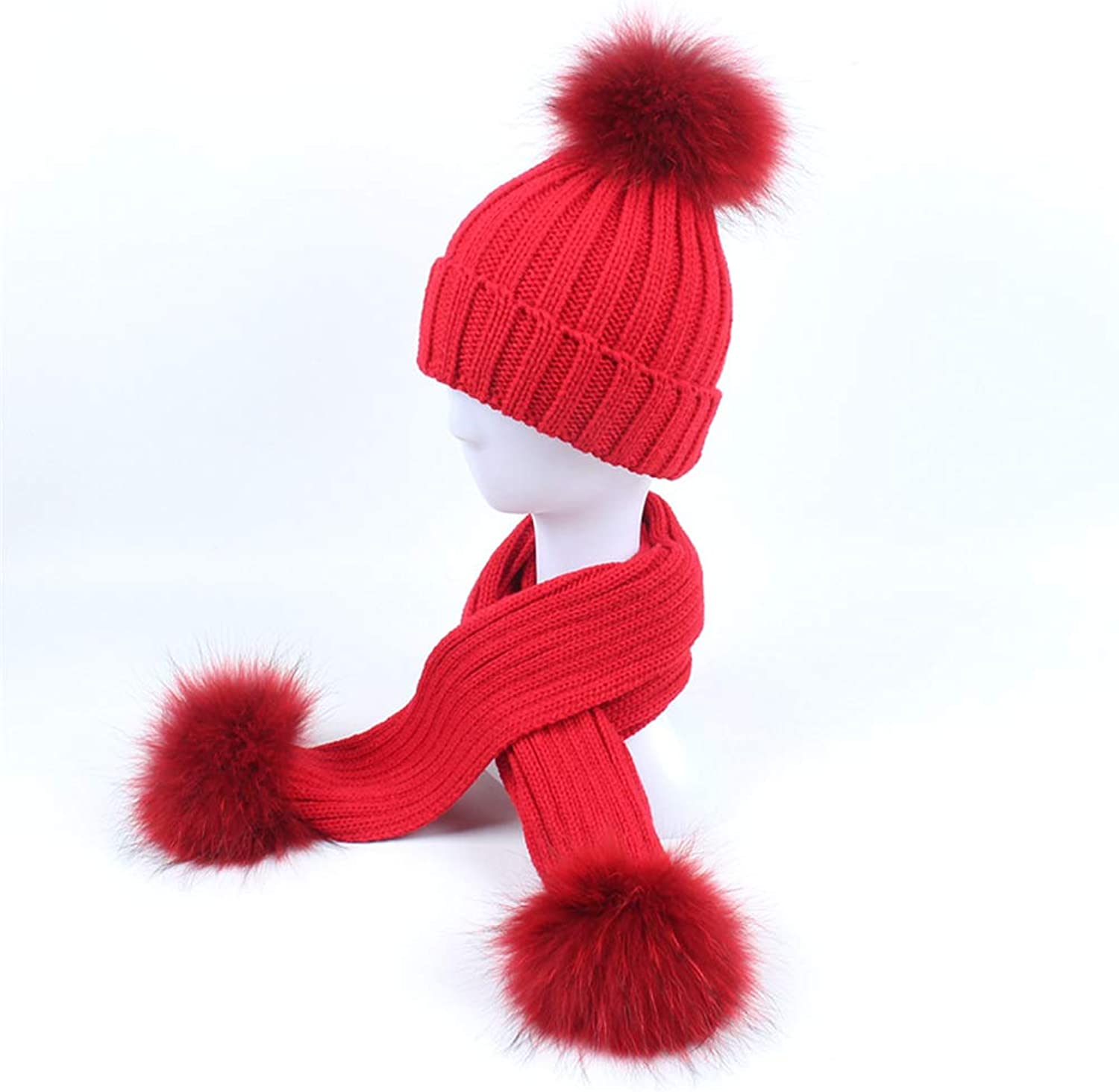 Beanies Hat Cap Autumn and Winter Hat Scarf TwoPiece Men and Women Baby Outdoor Warm Knit Travel Headdress(4853cm)
