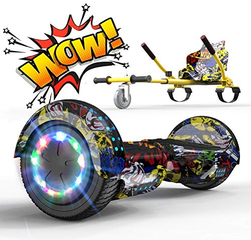 RCB Hoverboard Elettrico Scooter con Hoverkart Go-Kart Costruito in luci a LED Bluetooth...
