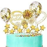 Oro Decoración para Tartas Torta Toppers de Cumpleaños Cupcake Toppers,Topper de Pastel de Cumpleaños Globos Confeti Cupcake Topper Happy Birthday Topper Decoración para Cumpleaños Baby Shower Fiesta