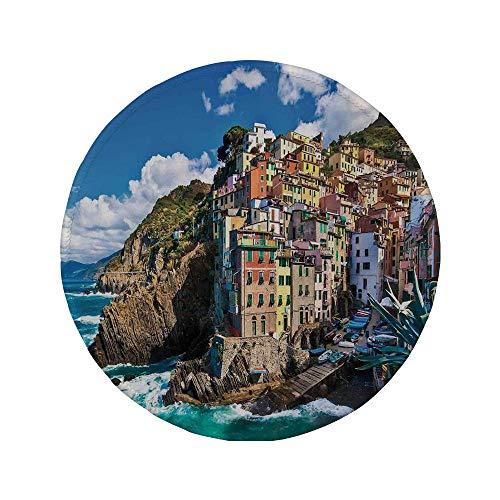 Rutschfreies Gummi-rundes Mauspad Bauernhausdekor italienisches mediterranes Haus von Cliffs Dramatisches Wetter Sea Cinque Terre Print Multi 7,87 'x 7,87' x 3 mm
