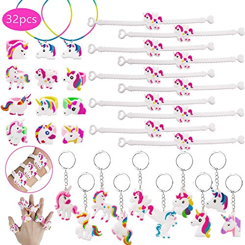 SPECOOL Pulseras Unicornio Party Favors Supplies, Regalos de Unicorn, Que Incluyen 10 Unidades Unicorn Bracelet, 10 Unidades Unicorn Keyring Keyring, 2 Unicorn Necklace