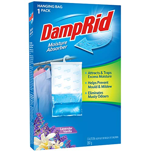 DampRid Lavender Vanilla Hanging Moisture Absorber, 1 Pack, For Fresher, Cleaner Air in Closets
