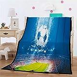 Leichte Flanell Decke, Morbuy Kuscheldecke Sofadecke Bettüberwurf Erhältlich Decke Tagesdecke Decke für Sofa & Bett Falten-widerstandsfähig Schmusedecke (150x200cm,Fußball)