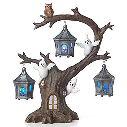 Lenox Halloween Lighted Haunted Tree Figurine Spooky Ghosts Owl Lanterns LED