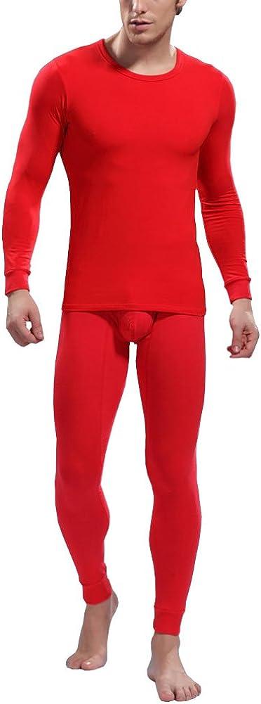 Louis Rouse Men's Solid Color Simple Fashion Comfortable Thermal Underwear Set