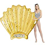 Inflatable Swimming Pool Float, 65'x63'x10' Seashell Swim Float Gold Glitter Sea Shell Pool Mattress Lounge, Gold Seashell Pool Raft or Beach Toys for Adults Ladies Girls Women Decoration