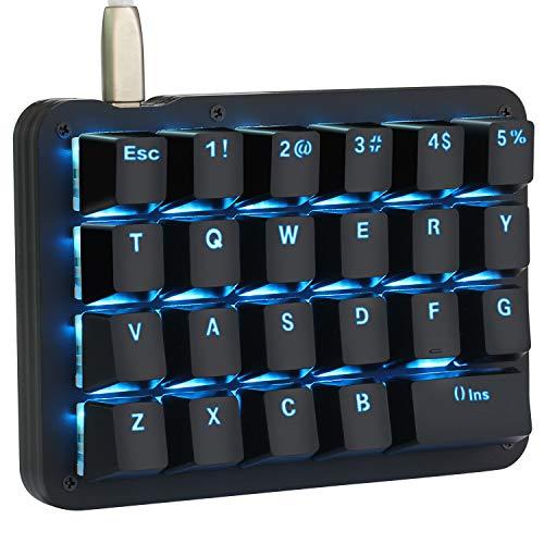 フルプログラム可能 メカニカルキーボード カスタマイズ自在 左手ゲーミングキーボード 23キー マクロキー RGBバックライト 片手 小型キーボード ショットカットキー プログラマー向き DIYキーボード (赤軸 ブルー(ブラック))