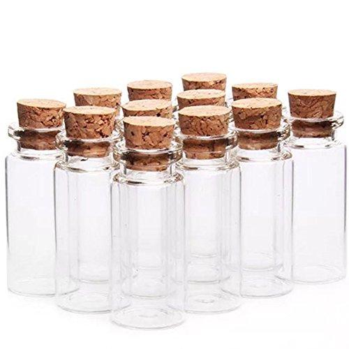 Kentop Mini-glazen fles met kurk, 10 stuks, 7 ml, kleine glazen flesjes met brede hals voor drift flesjes