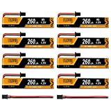 8pcs 260mAh 1S Lipo Battery 3.8V 30C HV Lipo Battery with GNB27 Connector for FPV Tiny Whoop 1S Drone Like Meteor65 Acro Micro Drone
