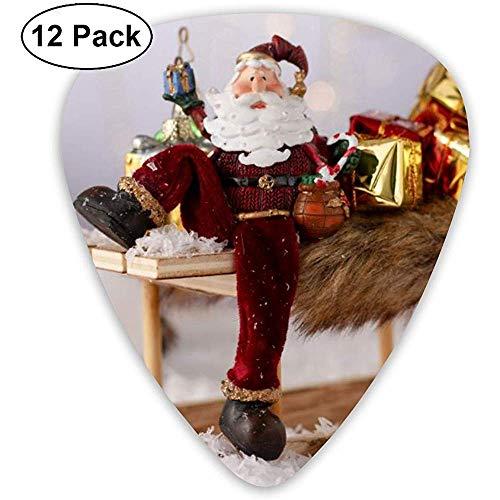 Sledding Santa Claus Plektren 12 Ukulelen-Plektren, einschließlich 0,46 mm, 0,71 mm, 0,96 mm Akustikgitarre