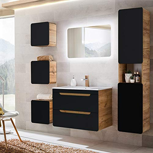 Lomadox Badmöbel Komplett Set in seidenmatt dunkel anthrazit mit Wotaneiche, Keramik-Waschtisch mit 80cm Unterschrank, LED-Spiegel, Hochschrank und 3 Hängeschränke