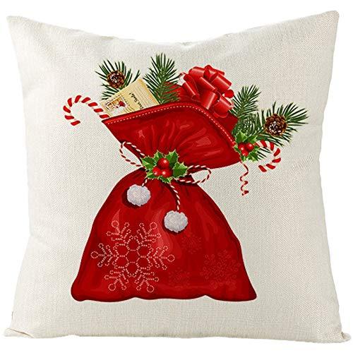 Beydodo Pack Fundas Cojines Navidad,Funda Cojines 1 Pieza Fundas Cojines Exterior 50X50,Bolso Blanco Rojo Verde