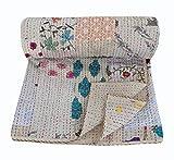 NANDNANDINI TEXTILE Kantha Colcha de algodón gitano ropa de cama para decoración del hogar india hecha a mano patchwork antiguo vintage kantha colcha boho bohemia sofá manta (King)