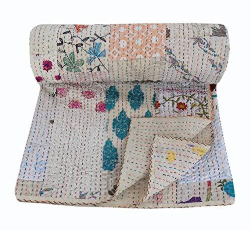 NANDNANDINI TEXTILE Kantha - Colcha de algodón gitano para decoración del hogar, hecha a mano, estilo indio, estilo antiguo Kantha, colcha bohemia, para sofá (king)
