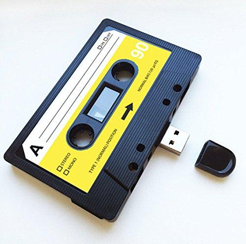 USB Mixtape, Retro, Quirky Gift, Muziek, Cool, Gadget, Geek, Kantoor, Nieuwigheid, Verjaardag, Bruiloft, Jubileum, Valentijnsdag, voor haar, Geschenken voor hem, Flash Drive 16GB Zwart