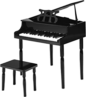 Costzon Classical Kids Piano, with Music Stand, 30 Keys Wood Toy Grand Piano, with Bench, Mini Musical Toy for Child, Ideal for Children's Room, Toy Room, Living Room and Bedroom (Straight Leg, Black)