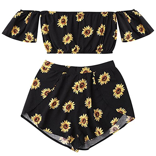 TUDUZ Shorts und Top Sets Damen Sommer Strand Zweiteiler Schulterfrei Sunflower Printed Beachwear Chiffon Crop Tops (Schwarz, M)